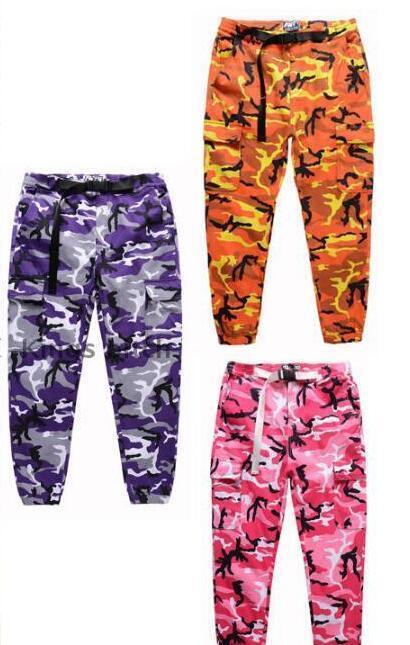 3fe4e0773a59 2019 TOP KANYE WEST Camouflage Camo Oversized Men Joggers Pants Hip Hop  Justin Bieber Pink Purple Fashion Pants S XXL From Q65983670