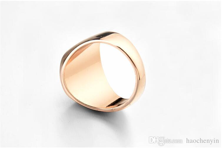Italian Brand Jewelry 18K Real Gold Plated Classic Men Black Rings