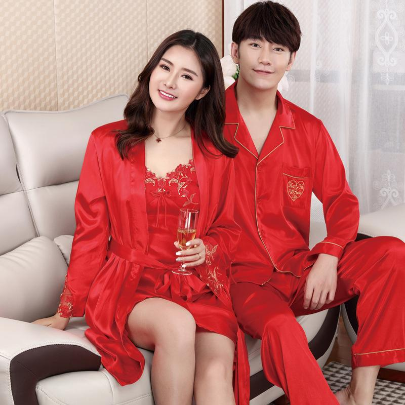 3fb251bdb9 2019 Spring Autumn Lovers Sleepwear Solid Nightwear Suit Faux Silk Couple  Casual Home Wear Plus Size 3XL Pajamas Pijama Set From Masue, $32.43 |  DHgate.Com