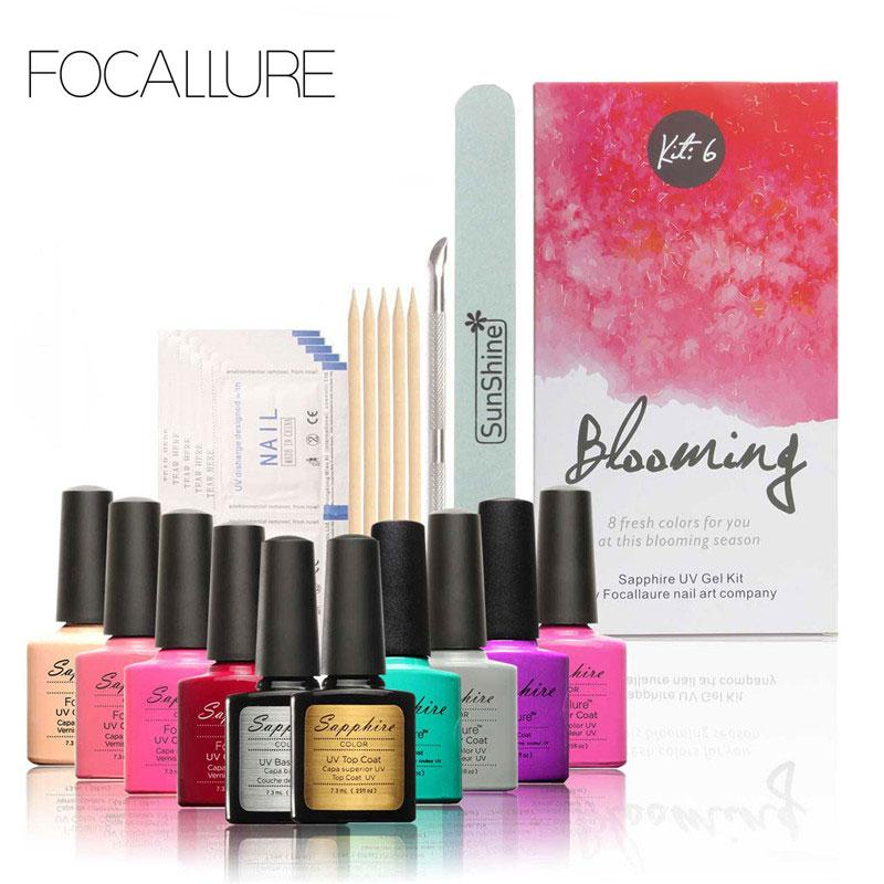 FOCALLURE New Pro Nail Gel Set Nail Art Kit Soak-off Gel Polish ...