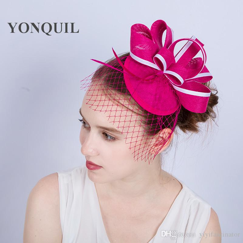 Hot Pink Or Multicolors Hair Fascinators For Elegant Ladies Women Headband  Races Church Wedding Veils Fascinator Hat Base In Summer SYF151 Pink Hats  Stylish ... 871261397e3