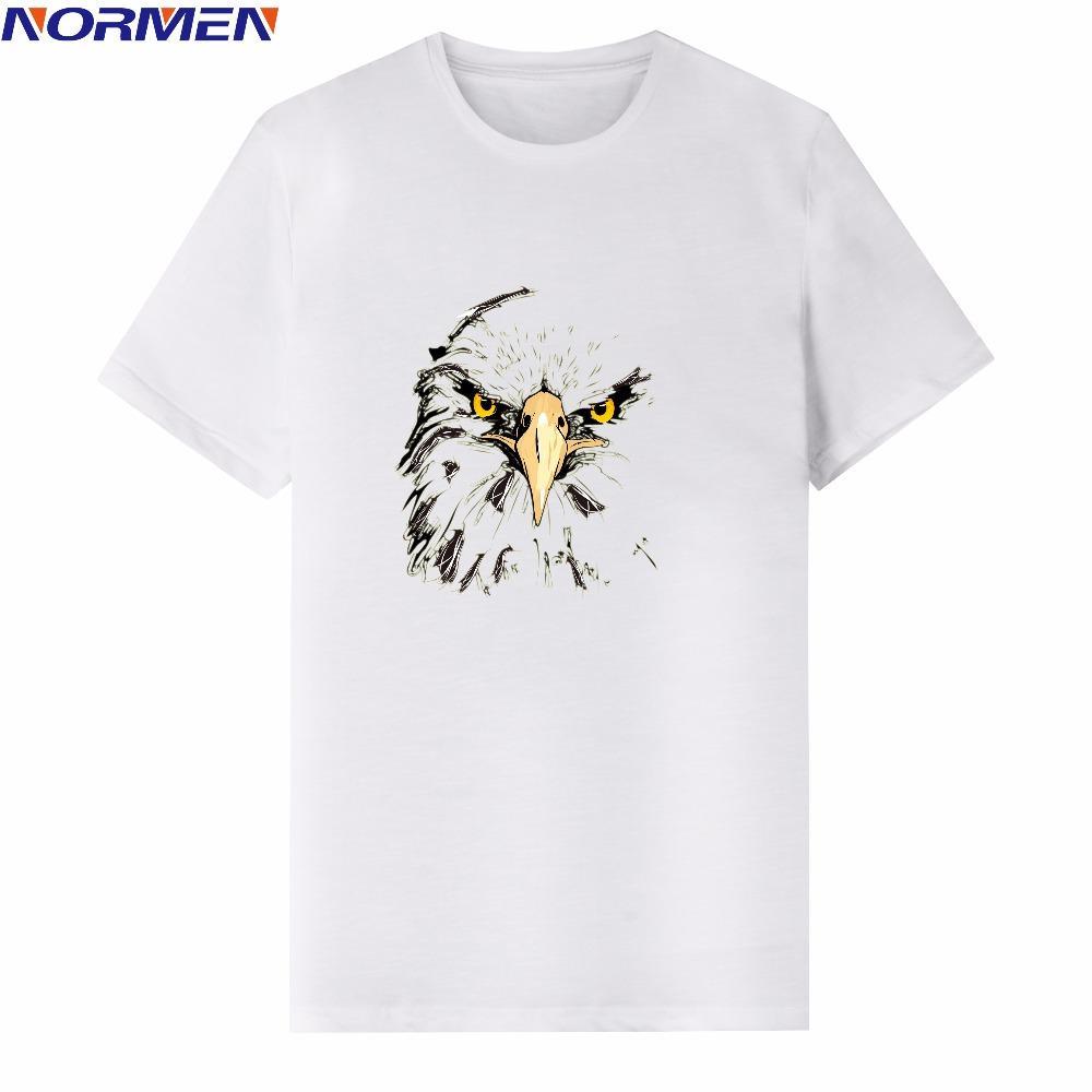 d03d506b NORMEN Men's Fashion Eagle Print T-Shirt 95% Cotton Round Neck Tshirts  Casual Tops Tees Shirt Hip Hop Streetwear Summer Style