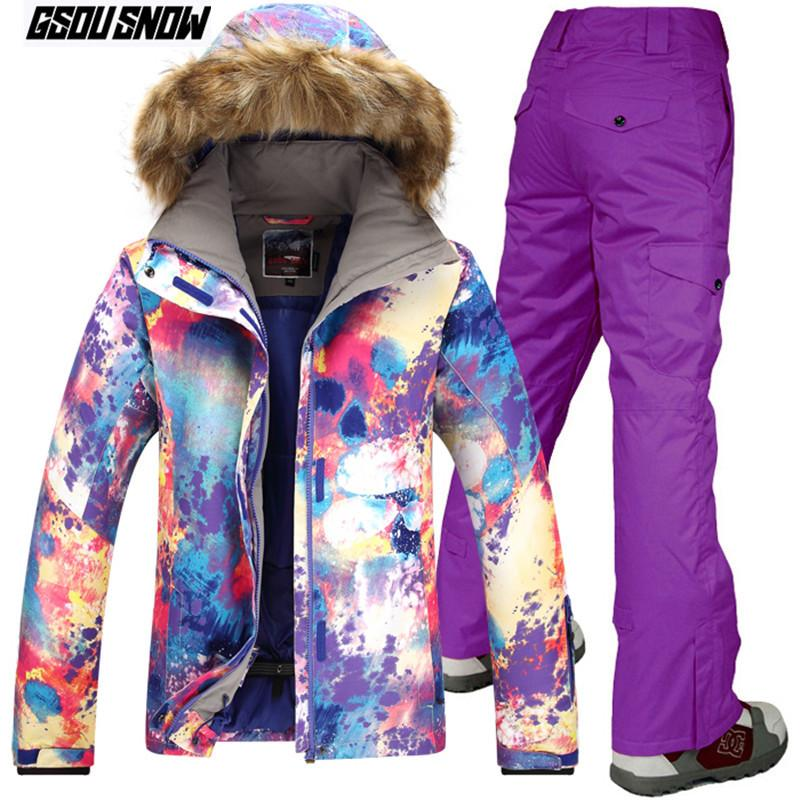 2019 GSOU SNOW Brand Ski Suit Women Skiing Jackets Snowboarding Pants  Winter Outdoor Mountain Skiing Suits Warm Sport Snow Clothes From Fwuyun 1e84992a3
