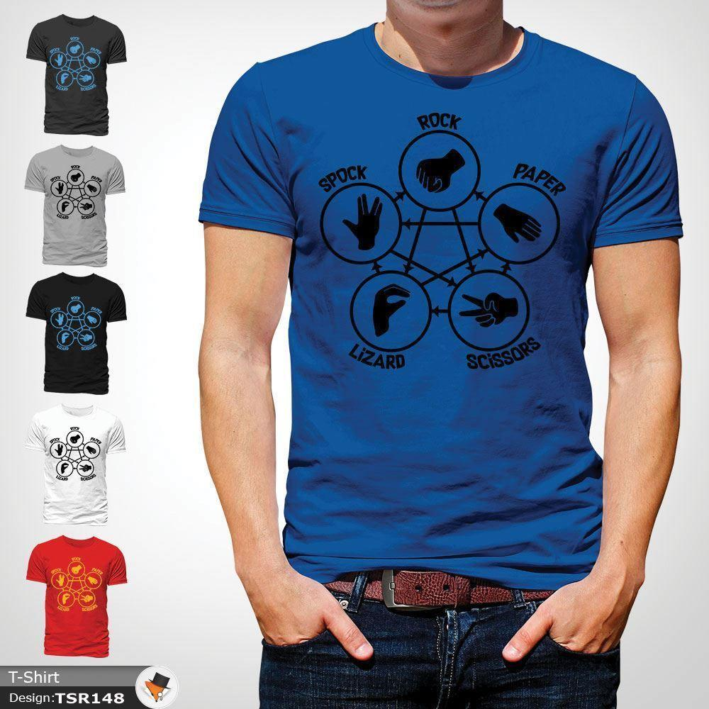 11a73fb97 Big Bang Theory Rock Paper Scissors Lizard Spock Sheldon Cooper T Shirt  Blue 1 Funny Unisex Casual Tee Gift T Shirt Buy Cool T Shirts Online Funny  Offensive ...