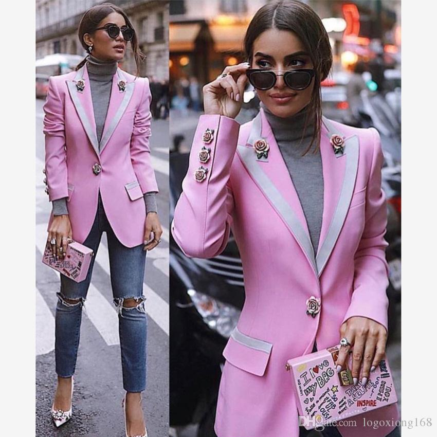 32756714a4c5b High Quality 2019 Designer Blazer Coat Women Long Sleeve Floral Lining Rose  Buttons Pink Blazers Outer Jacket Female Tops