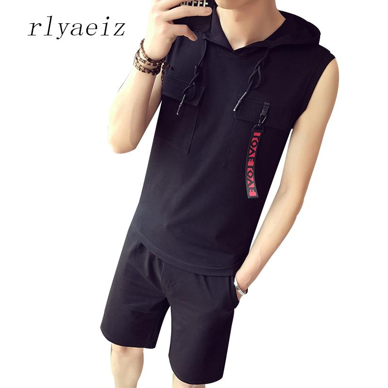 Rlyaeiz Brand New 2018 Casual Herren Sportanzug Sommer Zweiteiler Mens Trainingsanzug Sleeveless Westen + Shorts Männlichen Trainingsanzug