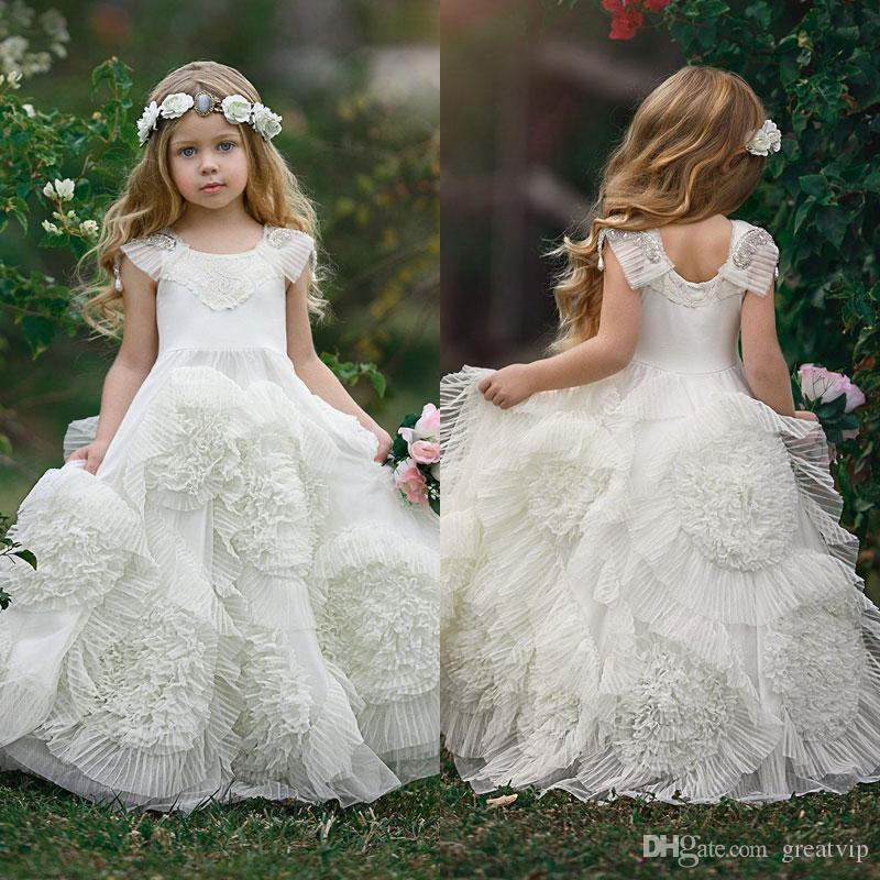 66b24bcce8 Vintage 2018 Beach Flower Girls Dresses Ruffles Lace Appliqued Beads  Wedding Girls Pageant Dress Party Gowns For Teens