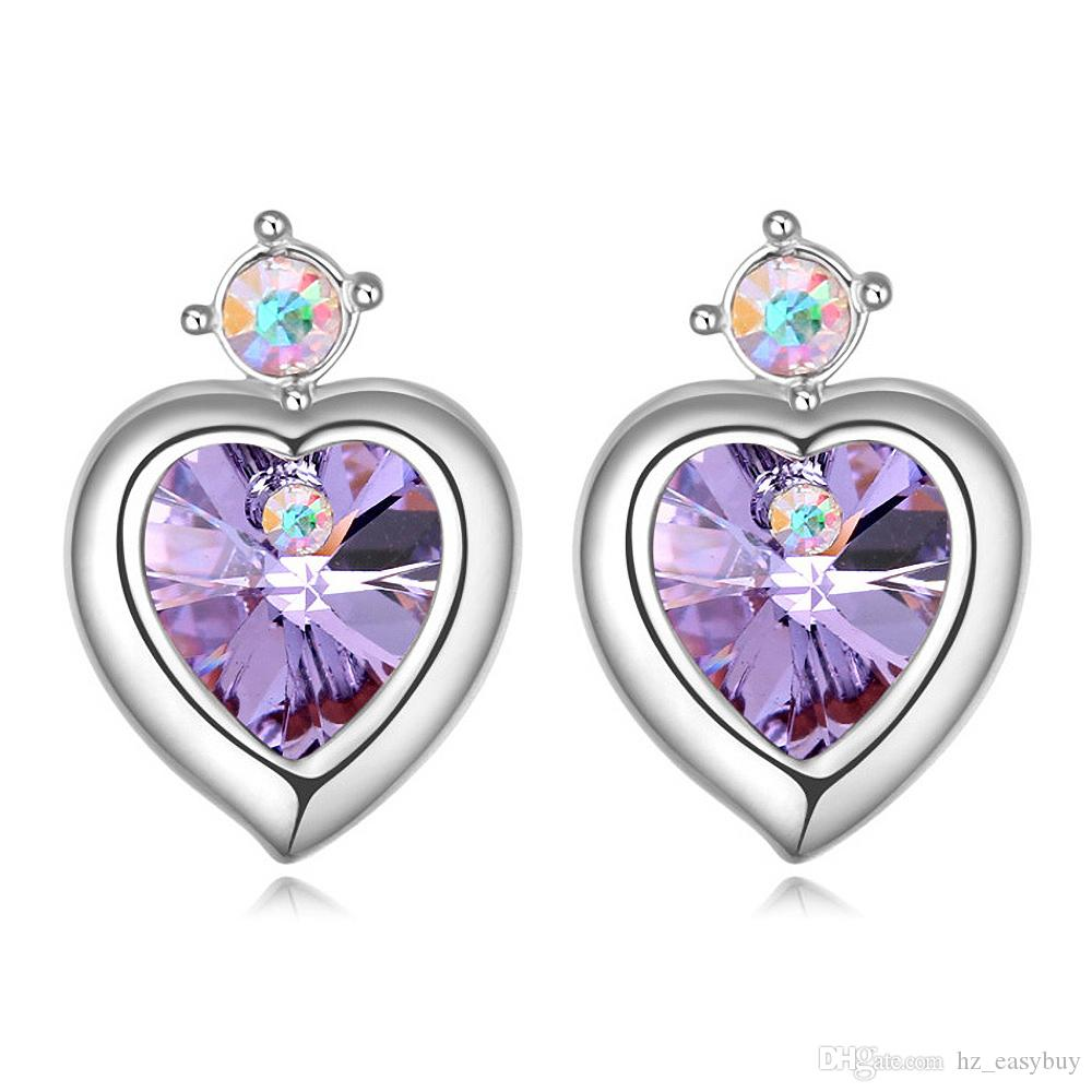 b6d0e9780 2019 Heart Crystal Ear Studs Earrings With Crystals From Swarovski ...