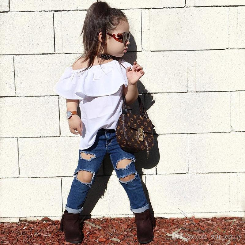 2019 HOT Fashion Kid Baby Girls Clothes Set Wrapped Chest Top Vest Ripped Hole  Jeans Denim Pants Outfits Casual Girl Clothing Sets 429 From Star emily 5ceccd8e1