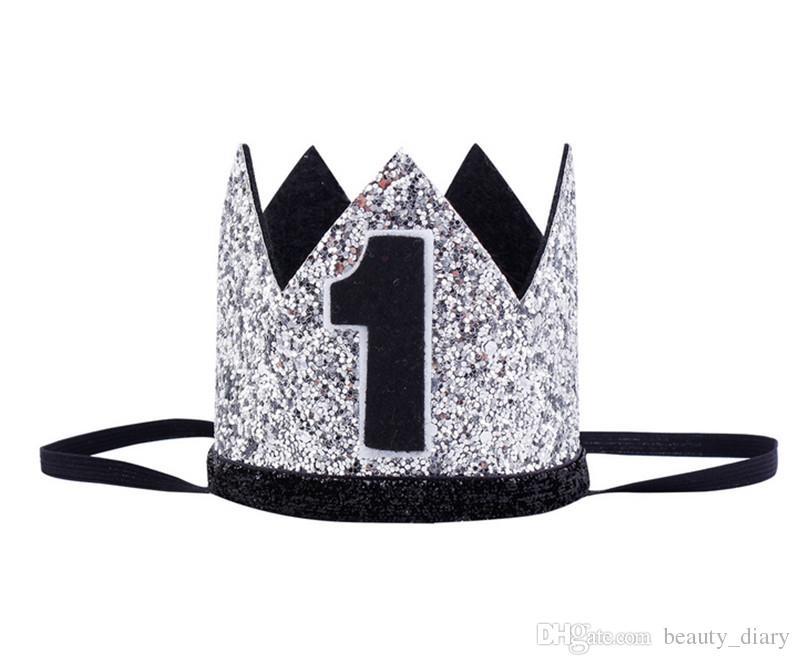 Ragazzi primo compleanno argento blu corona bambini blu dorato 1 ° compleanno ragazzo vestito torta Smash Sparkle Royal Birthday Party Hat
