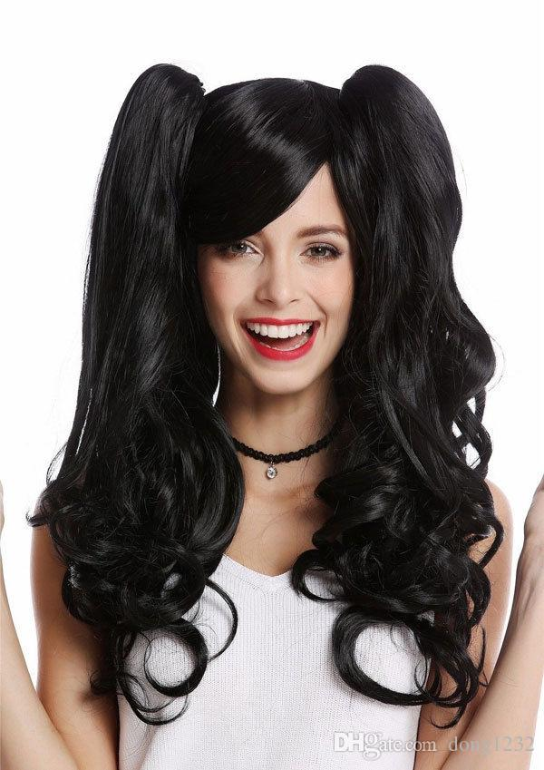 LMJF585 New Fashion Long Curly Health Black Hair 2 Long Ponytails Wigs  Women Wig Wig Caps For Making Wigs Wig Cap For Wig Making From Dong1232 73c2f340a