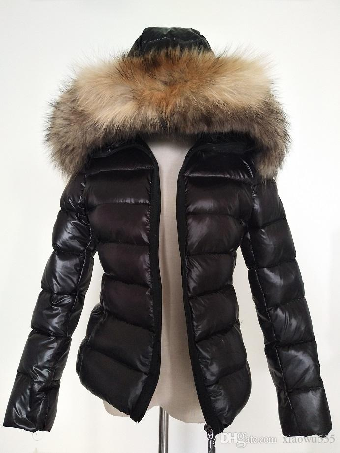 b06ab5121 Women Winter M Duck Down Coat 100% Real Large Raccoon Fur Collar M Down  Jacket Hooded Waist Thick Duck Down Parkas