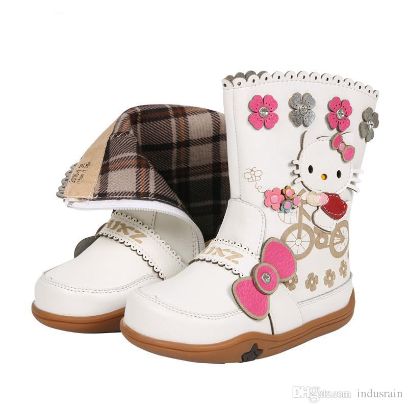 c726784dc0 Autumn Baby Boots for Girls Shoes Snow Boots Kids Leather Waterproof  Fashion Flower Cartoon Pattern Cotton Warm Children Boots