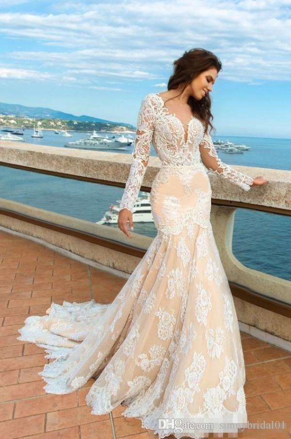 2018 Elegant Champagne Mermaid Lace Wedding Dresses Long Sleeves Beach Boho Elegant Backless Fitted Sweetheart Bridal Gowns with Sweep Train