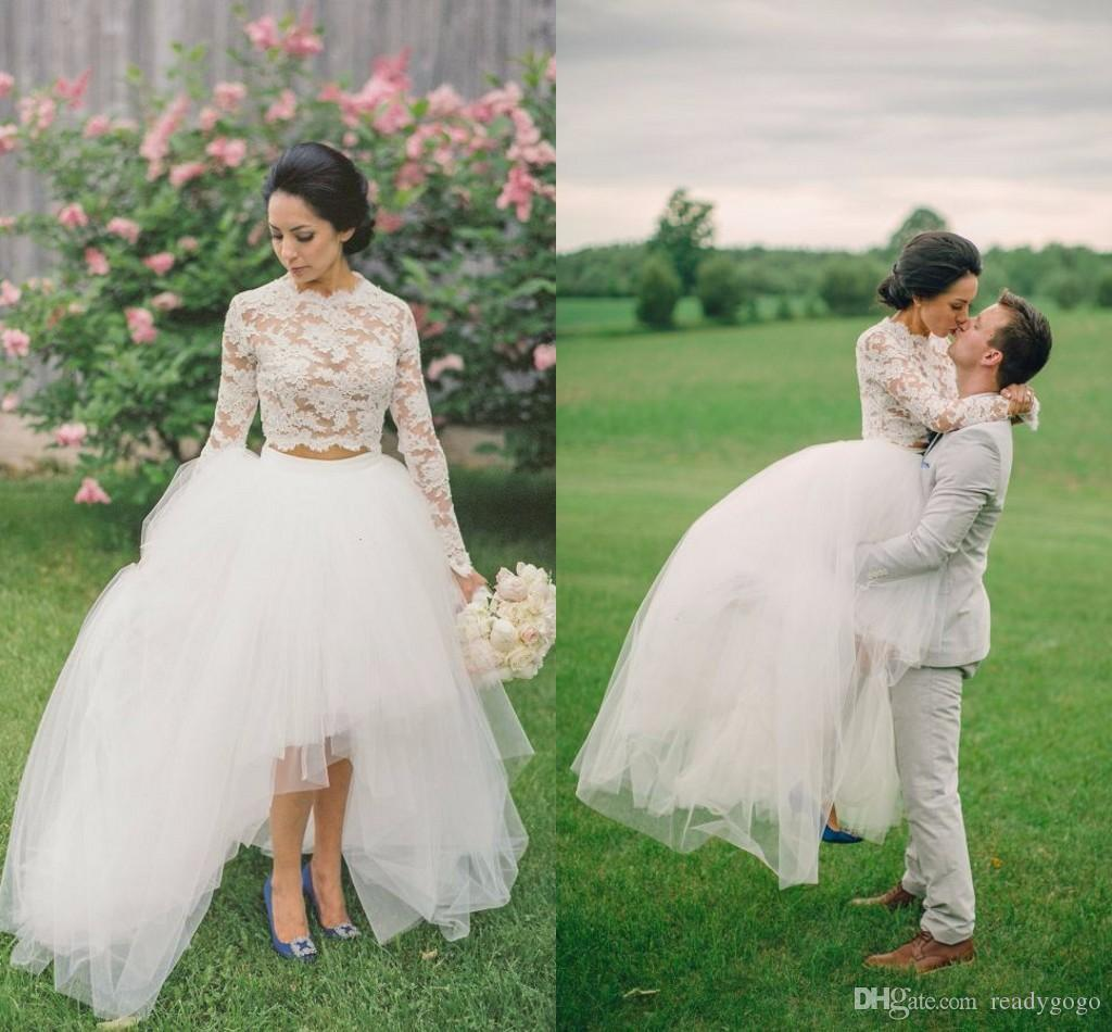 Two Pieces country garden Wedding Dresses 2018 Long Sleeves Lace Crop Top Appliques Tulle Hi-Lo Beach Simple Romance Bridal Dresses