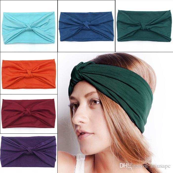 Fashion Wide Patchwork Cotton Headband For Women Lady Plain Fabric Yoga Sport Elastic Hairband Turban Headwrap Hair Accessories Girl's Hair Accessories Apparel Accessories
