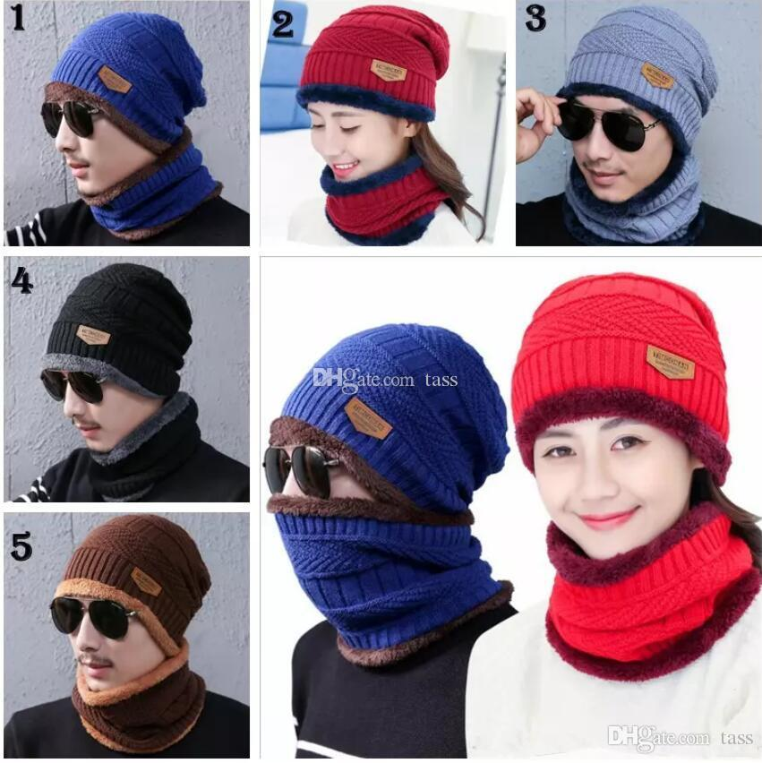 Großhandel Beanie Hut Schal Set Stricken Hüte Warm Verdicken Winter ...
