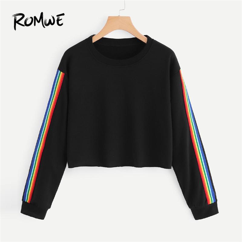 92d496b54c7eb5 Großhandel 20188 ROMWE Sweatshirts Damen Herbst Schwarz Plain Sweatshirt  Lässige Rundhalsausschnitt Crop Top Bunte Streifen Band Side Sweatshirt Von  Huang03 ...