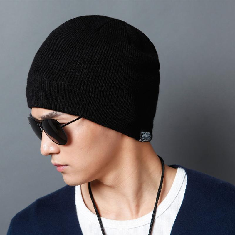 2018 Autumn And Winter Wool Hat Men s Warm Knitting Thick Double ... b96442eecc9