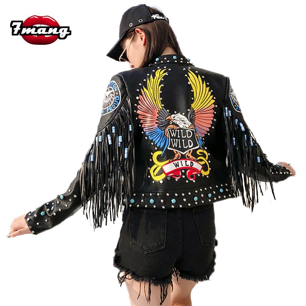 Compre 7mang 2018 Mulheres Punk Festa Rua Águia Impressão Jaqueta De Couro  Pu Rebite Preto Beading Manga Longa Motocicleta T Rock Coat De Wenshicu 6e22767d730