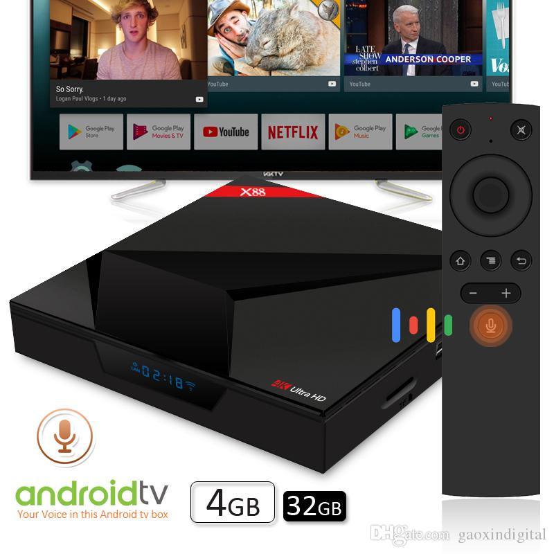 Voice control Android Tv Box Rockchip RK3328 X88 android tv boxes 4G ram  32g rom television media box support 4K Ultra HD 3D Movie playback