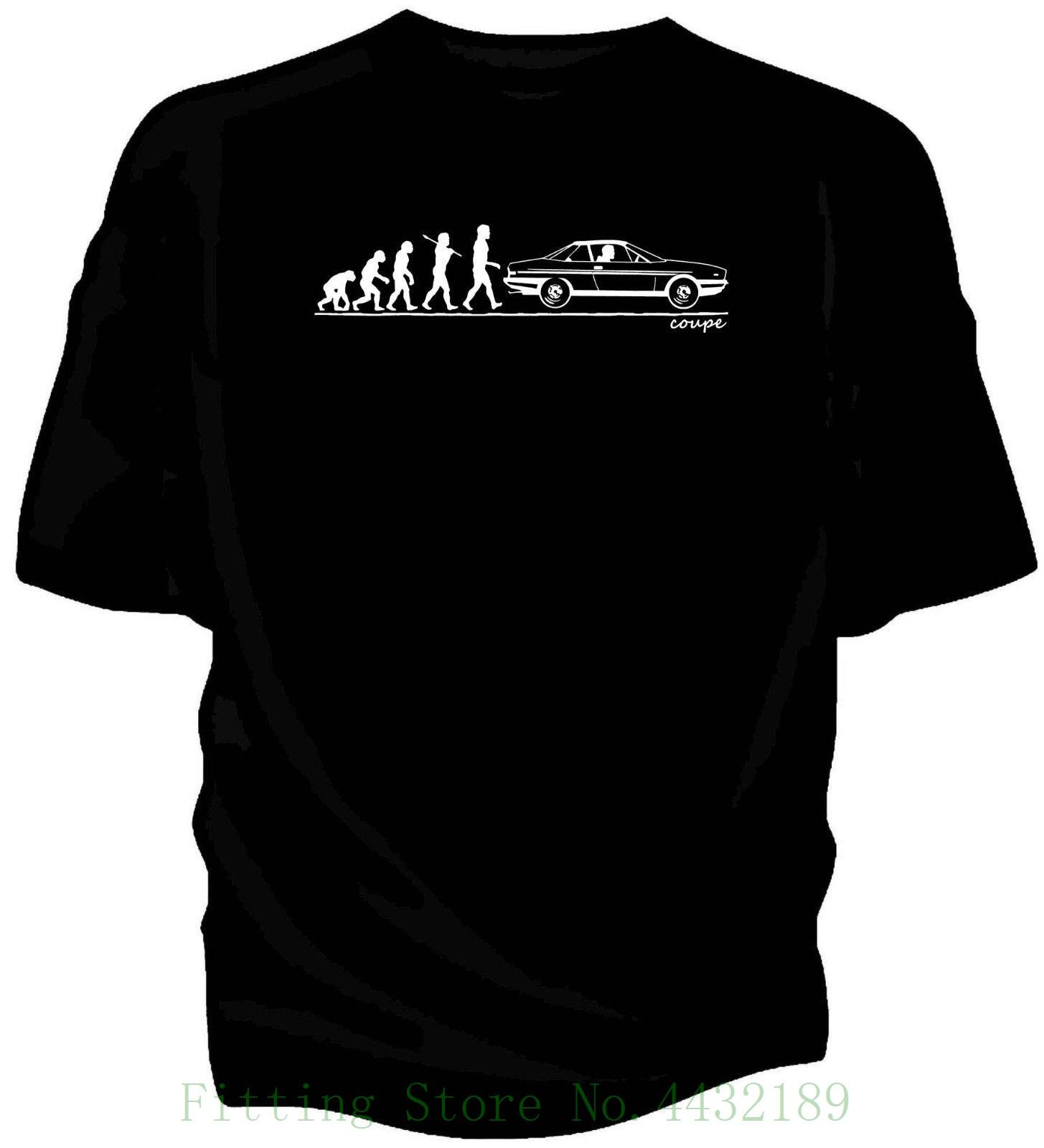 Evolution Of Man , Lancia Gamma Coupe 1976 Classic Car T Shirt. Men's T shirts Short Sleeve O neck Cotton
