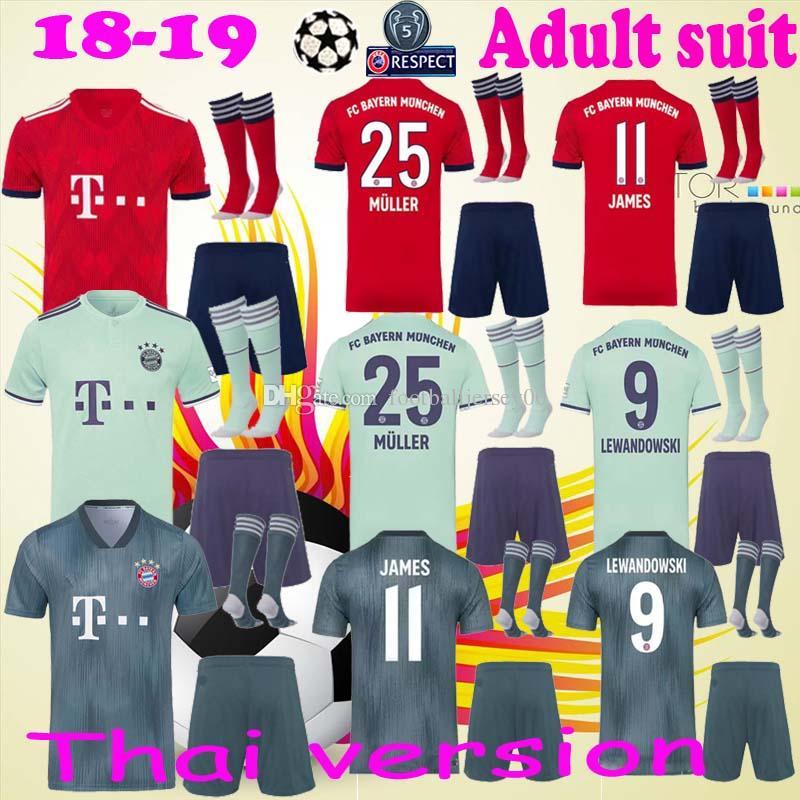 Compre 2018 2019 Bayern Munique FC Futebol Mats Hummels Jersey Set  Bundesliga 9 Robert Lewandowski 11 James Rodriguez Camisa De Futebol Homem  Kits Uniforme ... 6f4492bf86a47