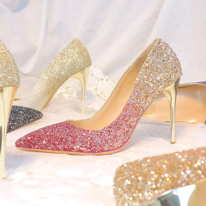 Bingling Ombre Lantejoulas Sapatos De Casamento Para A Noiva Biquíni Prom Banquete De Salto Alto Plus Size Apontou Toe 3 Cores Sapatos de Noiva