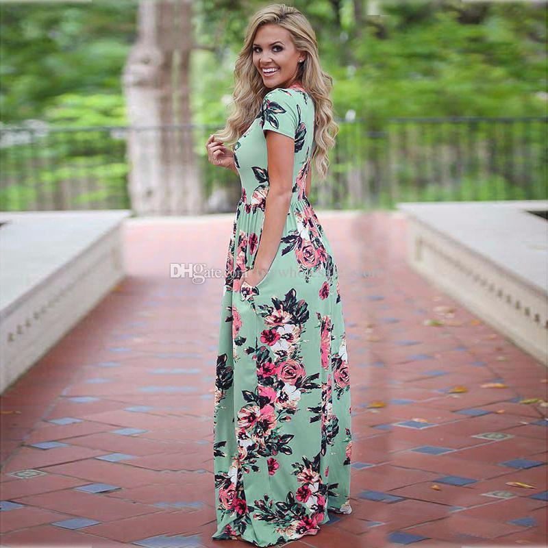 Kadınlar Çiçek Baskı Kısa Kollu Boho Elbise Akşam elbise Parti Çiçek baskı Elbise 2018 Yaz 6 renkler C3948