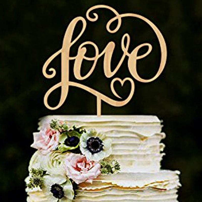 Mr And Mrslove Antic Rustic Wedding Cake Topper Laser Cut Wood