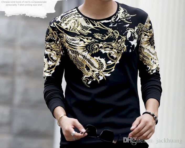 0369e902c Men's Casual Slim Fitted Long Sleeve T Shirt Japan Ukiyoe Tattoo Art Design  Cotton Dragon Pattern Print Tops Tee Shirts