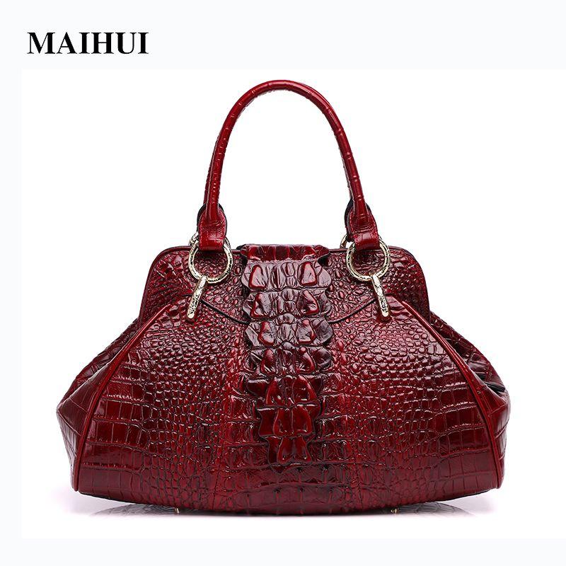 1db9a54eabac Maihui Women Leather Handbags High Quality Cow Genuine Leather Woman Bag  New Chinese Style Crocodile Grain Top Handle Hobos Bags Small Handbags Best  ...
