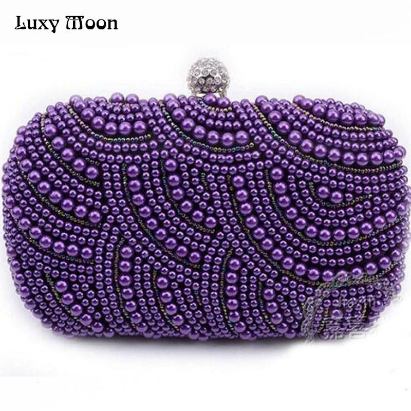 6a3e59e642d New 2016 Purple Pearls Evening Bags Blue Black Grey Beaded Clutch Bag  Wedding Bridal Clutches Party Dinner Purse Chains Handbag Cute Purses  Shoulder Bags ...
