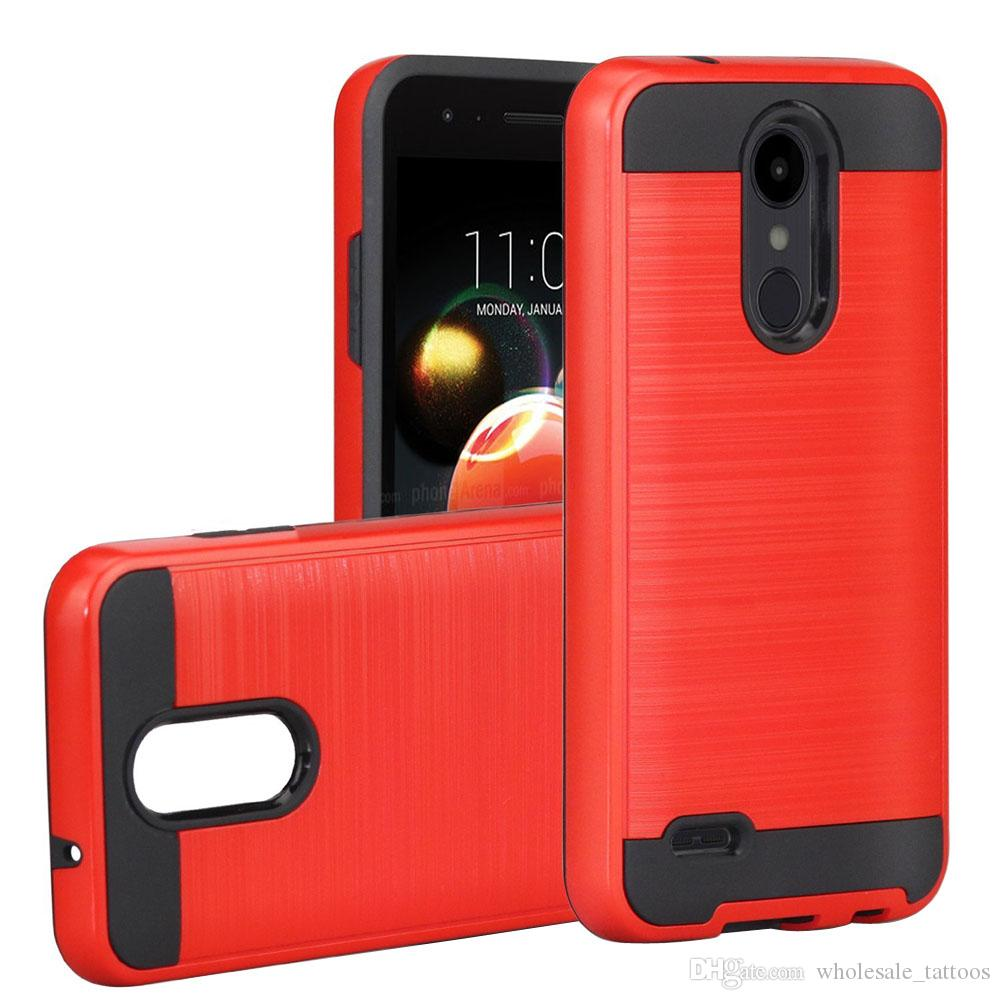 brand new f5ec9 e27ed Hybrid Brushed TPU PC Case For LG Aristo 2 Plus Fortune 2 Rebel 3 Risio 3  Zone 4 CoolPad Defiant 3632 Revvl Plus Tmobile Shockproof Cover