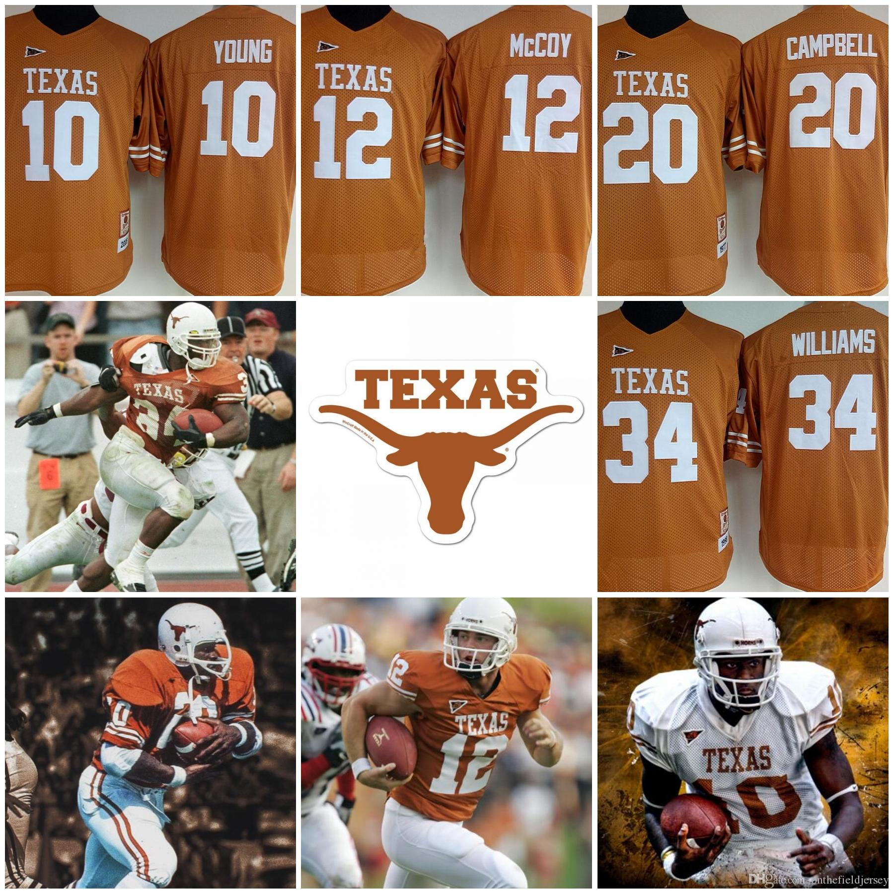 b60724c4d 2019 Texas Longhorns Womens Youth #10 Vince Young 12 Colt McCoy 20 Earl  Campbell 34 Ricky William Retro Orange NCAA Football Jerseys S 2XL From ...