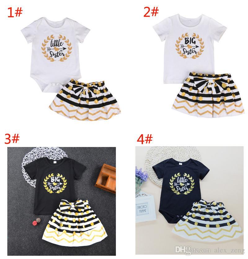 Baby girl dress suit T-shirt romper+skirt set letter Litter Big Sister ruffle golden black kid clothing lovely family clothes