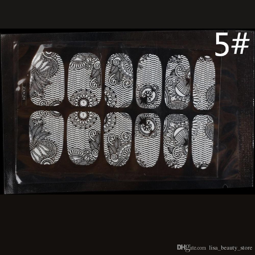 12 envolturas de uso prolongado Encaje Blanco Serial Transparente Calcomanías de Uñas Pegatinas de Uñas Puntas de Uñas Falsas Decoración Falsa Sin Manchar DIY 50 UNIDS