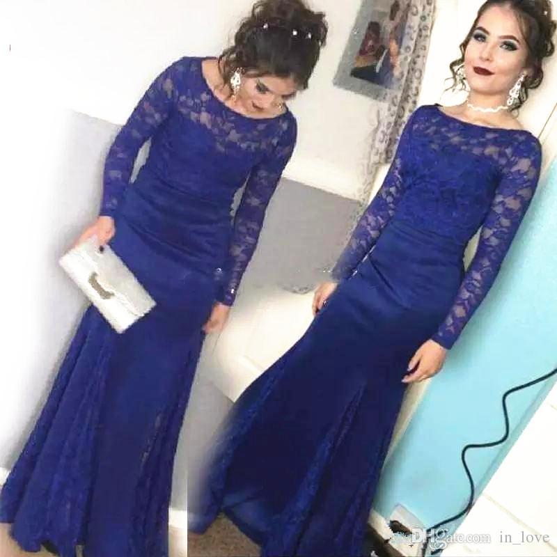 9c0e71446 Compre Azul Royal Lace Sereia Longo Mãe Do Vestido De Noiva Manga ...