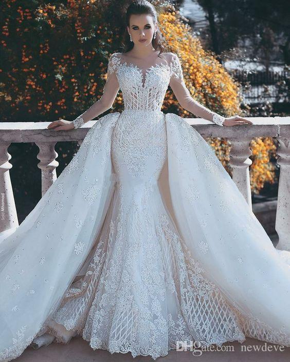 2018 Neue Meerjungfrau Spitze Brautkleider Mit Abnehmbarem Zug Sheer Neck Long Sleeves Perlen Überrock Dubai Arabische Brautkleider