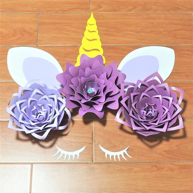 Compre 2018 Creativo Unicornio Flores De Papel Conjuntos Telon De