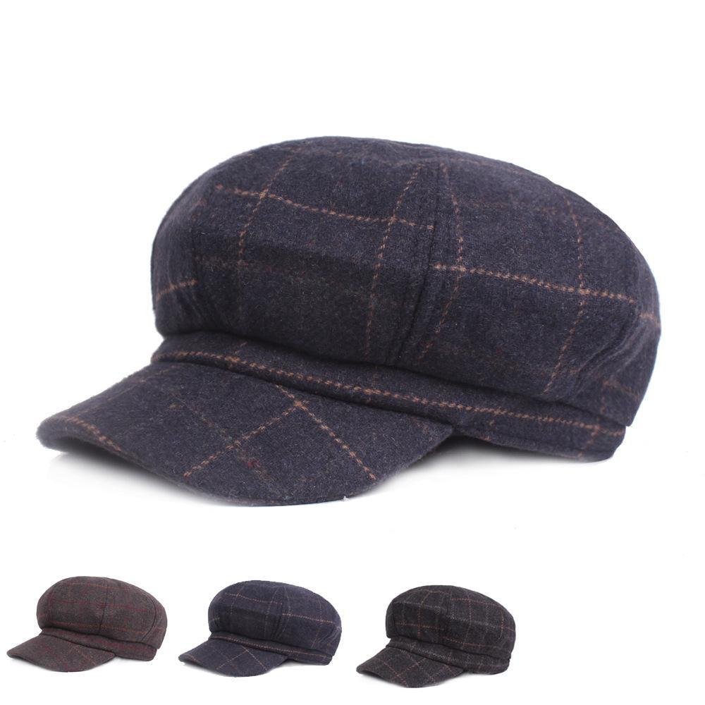 b034abd2bc2e Gorra octogonal de lana para damas otoño invierno sombrero boina caliente  retro pintor tapa arte sombrero juvenil
