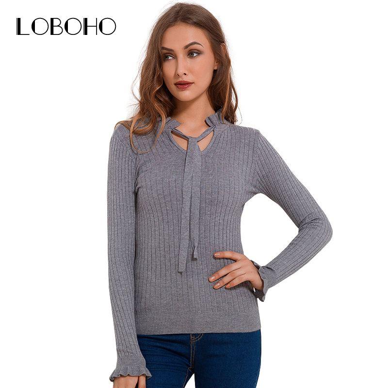 купить оптом зашнуровать вязаный свитер с длинным рукавом рябить
