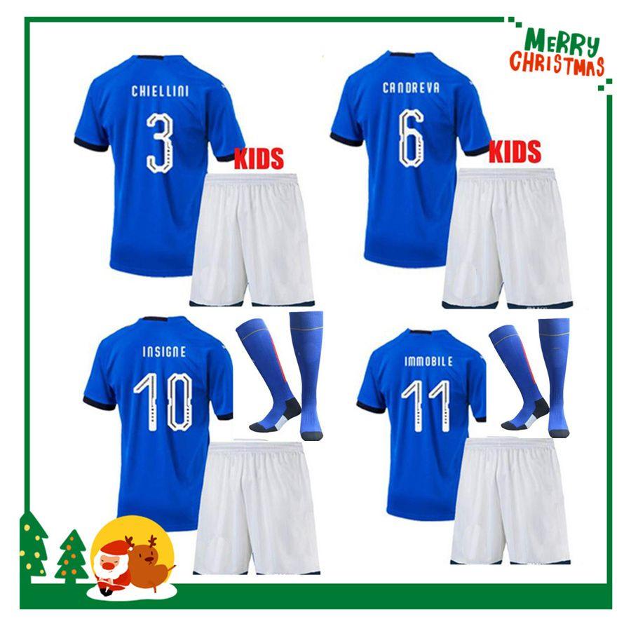 303f4270ed628 2018 BUFFON Kids Kit Boy Child Soccer Jersey MARCHISIO BALOTELLI DE ROSSI IMMOBILE  PIRLO VERRATTI CHIELLINI PELLE Shirt Online with  18.04 Piece on ...