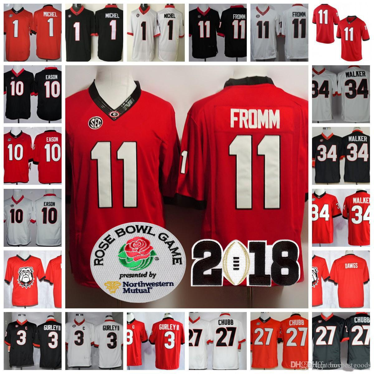 40531b9c6 2019 Georgia Bulldogs 11 Jake Fromm 27 Nick Chubb 7 D Andre Swift 3 Roquan  Smith NCAA 2018 Rose Bowl Championship Football Jerseys Stitched From ...