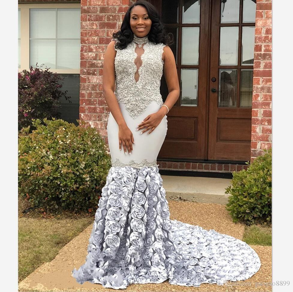 e4fc3051f686 Newest African Women Silver Lace Mermaid Prom Dresses Party Wear 2018 Long  Keyhole Neck Rose Flowers Appliques Pageant Dress Evening Gowns Girls Party  Dress ...