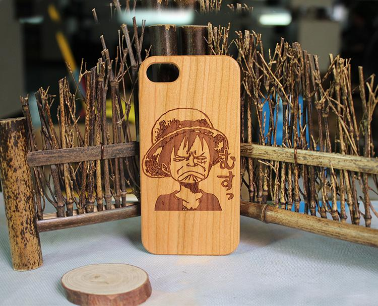 Cherry Wood Engraving Phone Cover For Iphone 10 X 7 8 plus 6 6s Wood Case Wooden TPU Four Sides Protection For Samsung S9 S8 S7 edge Note8