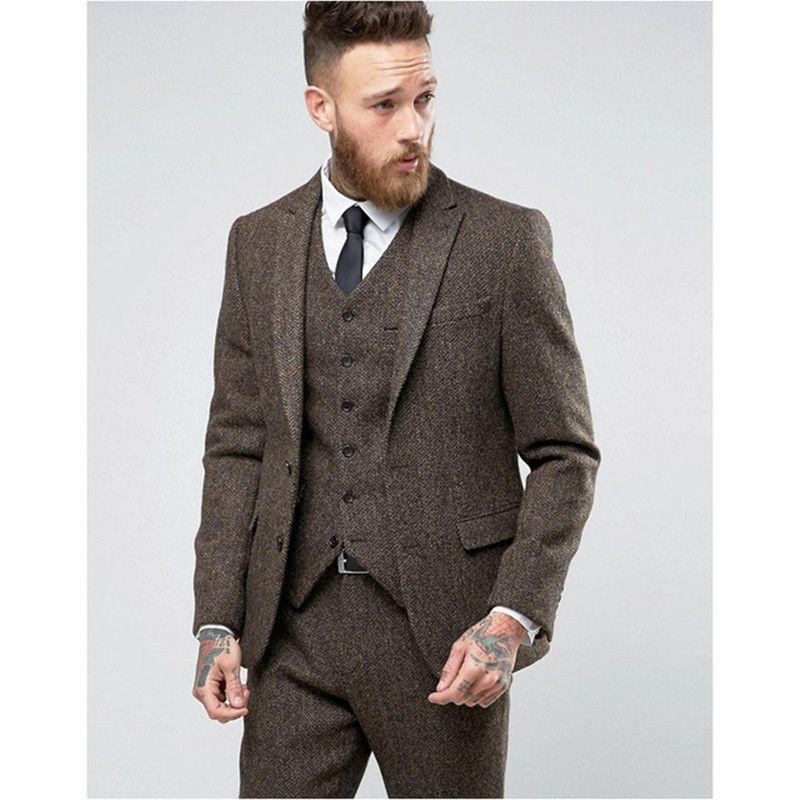 Grosshandel 2017 Custom Made Braun Tweed Anzug Herren Formale Dunne