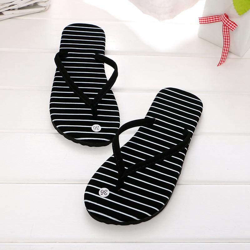 26d9b94f898 2019 Summer Slippers For Woman Striped Flat Heel Flip Flops Outdoor Shoes  EVA Sandals Casual Beach Shoes Woman Home Slippers Slippers For Women Cheap  Shoes ...