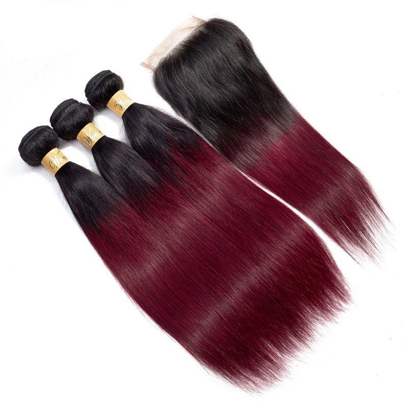 Brazilian Ombre 1B 99J Straight Virgin Hair 3 Bundles With Lace Closure Burgundy Hair Extensions 1B 99j Straight Human Hair Weave