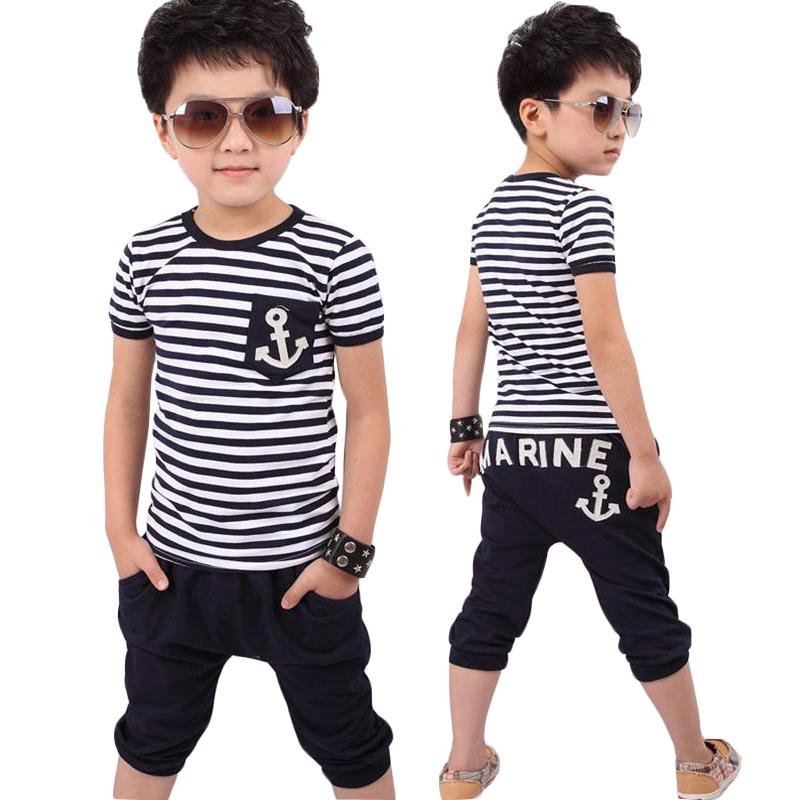 9627767f32df1 Children Clothing 2018 New Summer Cotton Boys Sets Striped T-shirts Shorts  2pcs Casual Kids Suit 2 3 4 5 6 7 8 Year Boys Clothes Y1893004